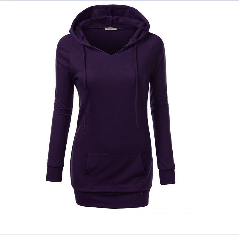 Solid Color Hooded Long Sleeve Pullover Slim Hoodie - Oh Yours Fashion - 5