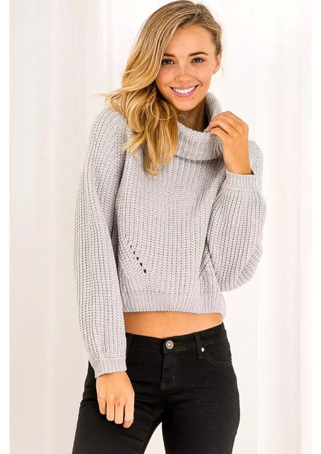 High Collar Pure Color Midriff Lapel Pullover Short Sweater - Oh Yours Fashion - 3