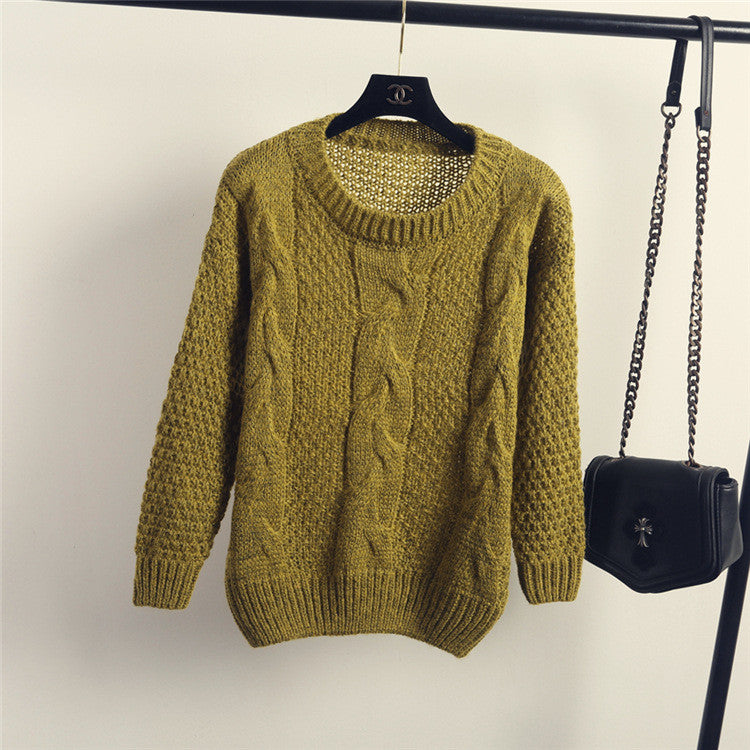 Pull over Loose Pure Color Long Sleeve Sweater - Oh Yours Fashion - 7