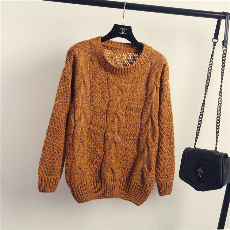 Pull over Loose Pure Color Long Sleeve Sweater - Oh Yours Fashion - 3