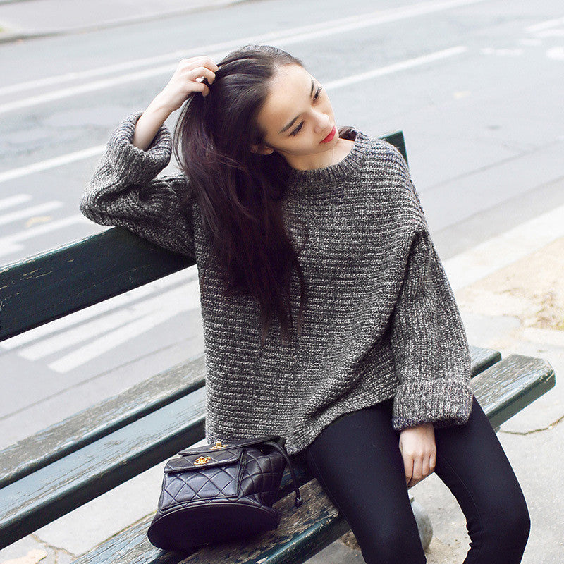Lazy Style Loose Batwing Pullover Solid Color Sweater - Oh Yours Fashion - 4