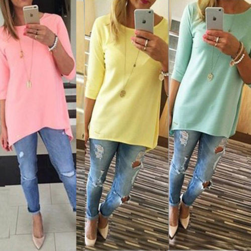 Candy Color 3/4 Sleeve Scoop Irregular T-shirt - Oh Yours Fashion - 1