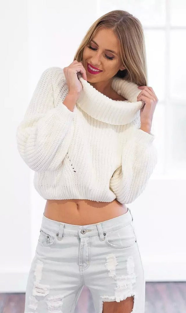 High Collar Pure Color Midriff Lapel Pullover Short Sweater - Oh Yours Fashion - 2