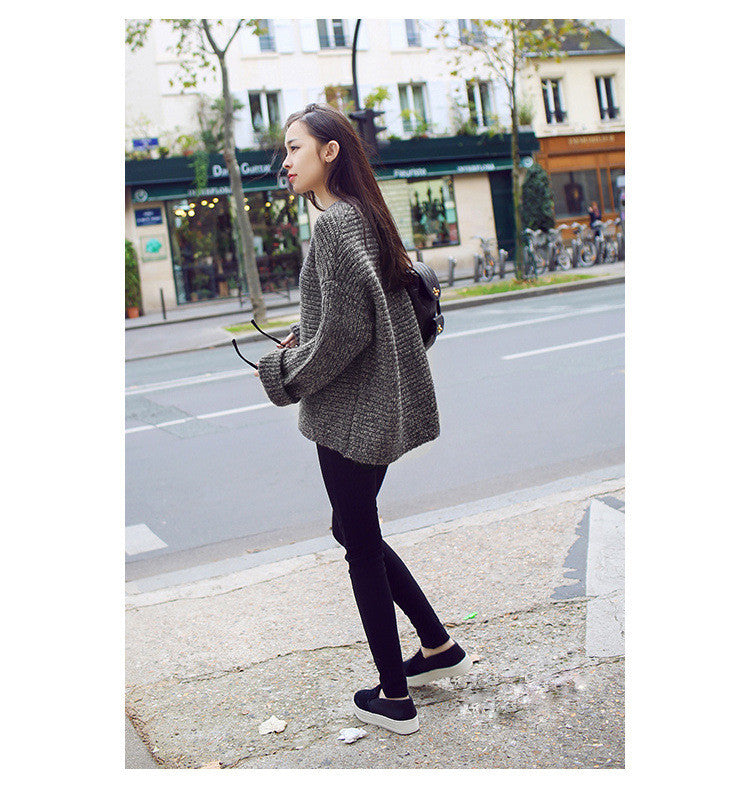 Lazy Style Loose Batwing Pullover Solid Color Sweater - Oh Yours Fashion - 3