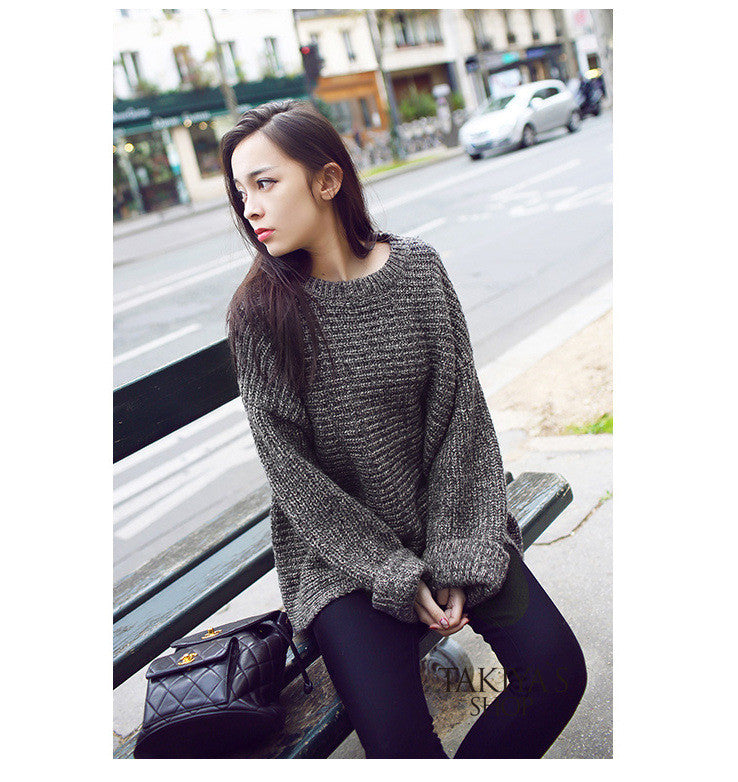 Lazy Style Loose Batwing Pullover Solid Color Sweater - Oh Yours Fashion - 5