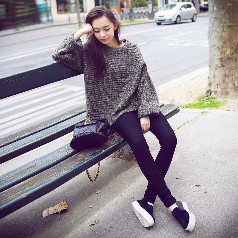 Lazy Style Loose Batwing Pullover Solid Color Sweater - Oh Yours Fashion - 2