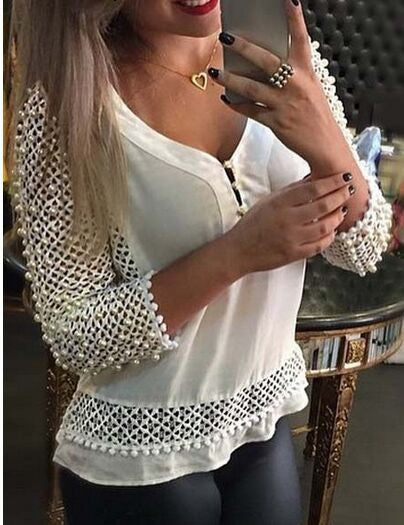V-neck Mesh Holes Pure Color Button Slim Patchwork Long Sleeves Blouse - Oh Yours Fashion - 2