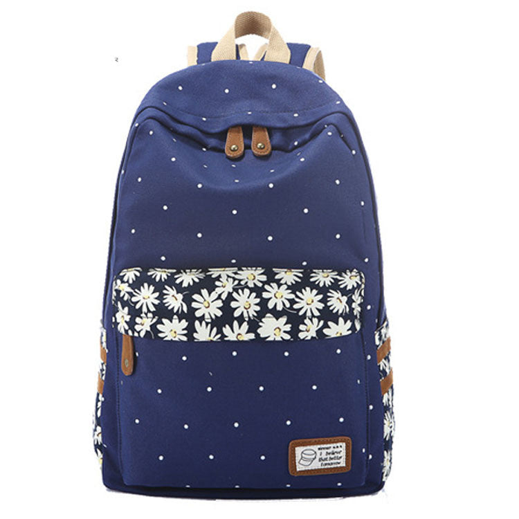 Polka Dot Print Little Flower Detail Canvas Backpack - Oh Yours Fashion - 1