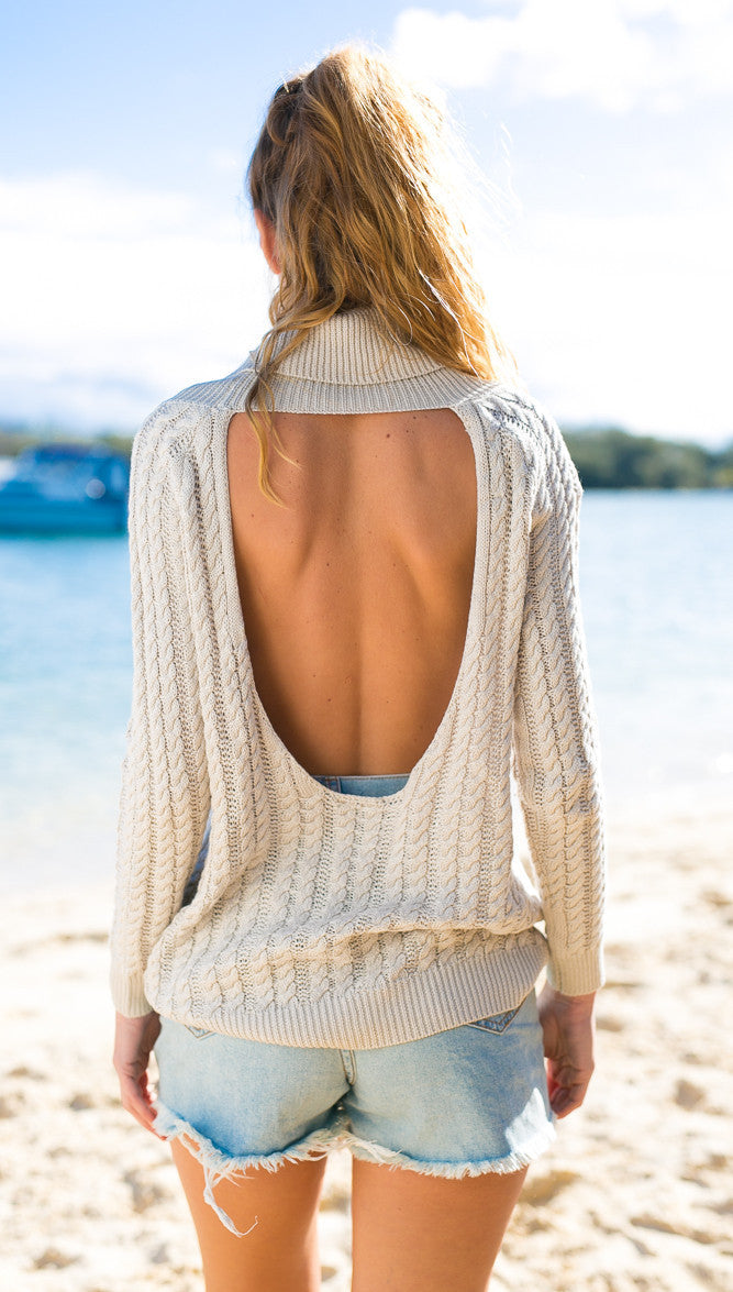 Backless Scoop Solid Color Pullover Lapel Sweater - Oh Yours Fashion - 4