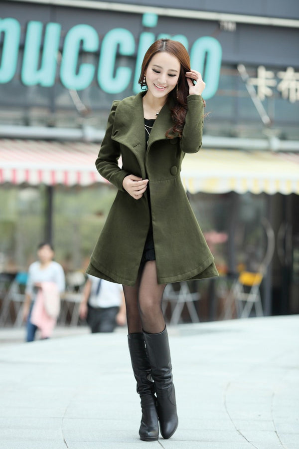High Neck Long Sleeves Button Wool Belt Coat - Oh Yours Fashion - 5