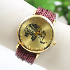 Elephant Print Multilayer Leather Watch - Oh Yours Fashion - 1