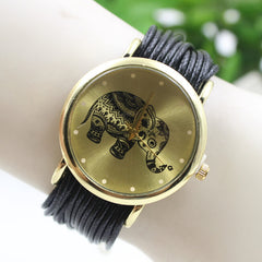 Elephant Print Multilayer Leather Watch - Oh Yours Fashion - 3
