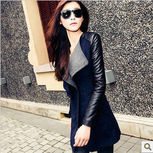 Lapel Casual Patchwork Slim Mid-length Woolen Coat
