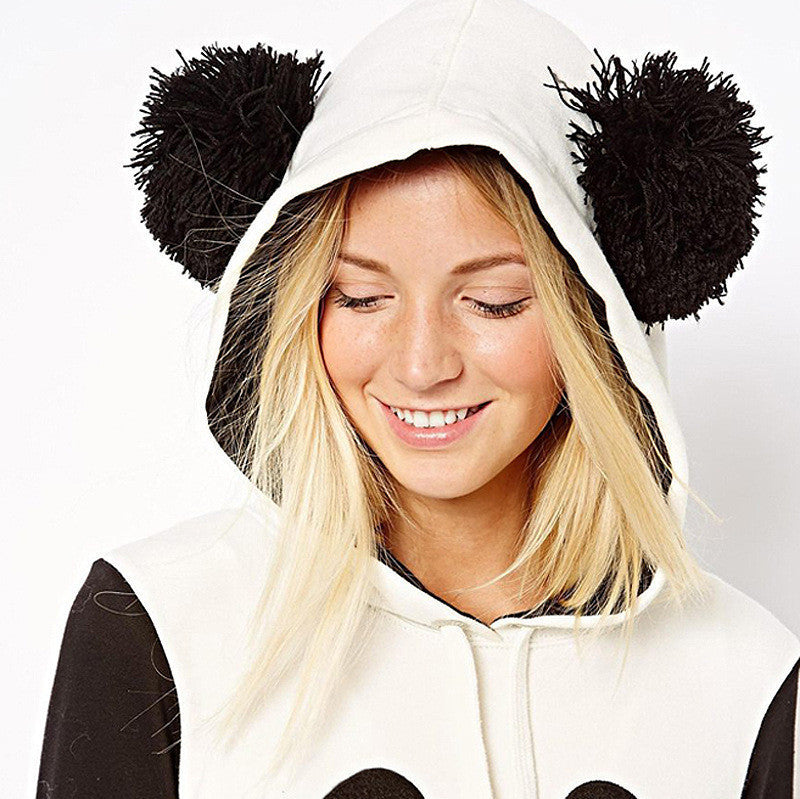 Panda Print Contrast Color Hooded Cute Sweatshirt - Oh Yours Fashion - 4