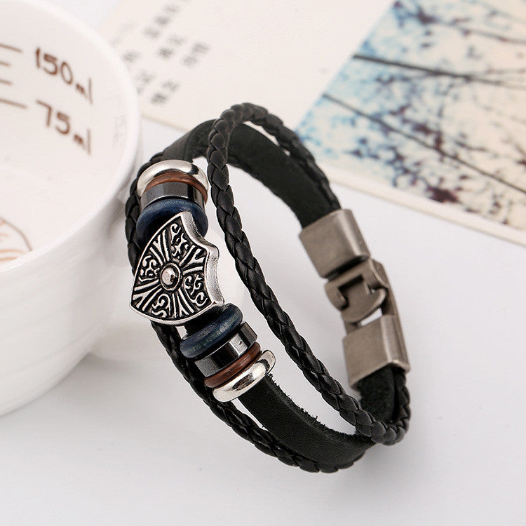 Retro Shield Woven Leather Bracelet - Oh Yours Fashion - 3
