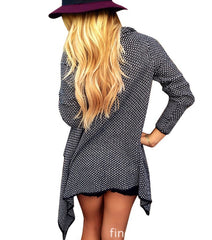 Asymmetric Wave Cardigan Loose Knit Long Sleeve - Oh Yours Fashion - 5