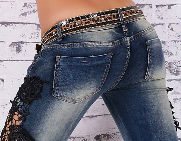 Plus Size Lace Patchwork Street Slim Straight Jeans - Oh Yours Fashion - 6