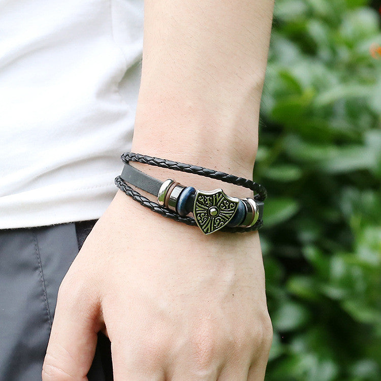 Retro Shield Woven Leather Bracelet - Oh Yours Fashion - 2