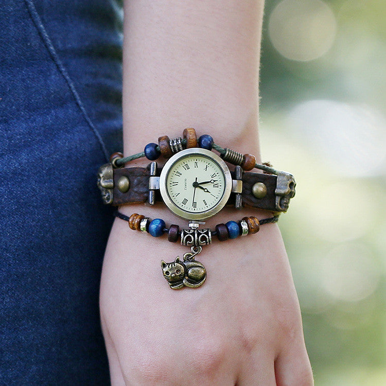 Punk Beaded Skull Cat Watch - Oh Yours Fashion - 1