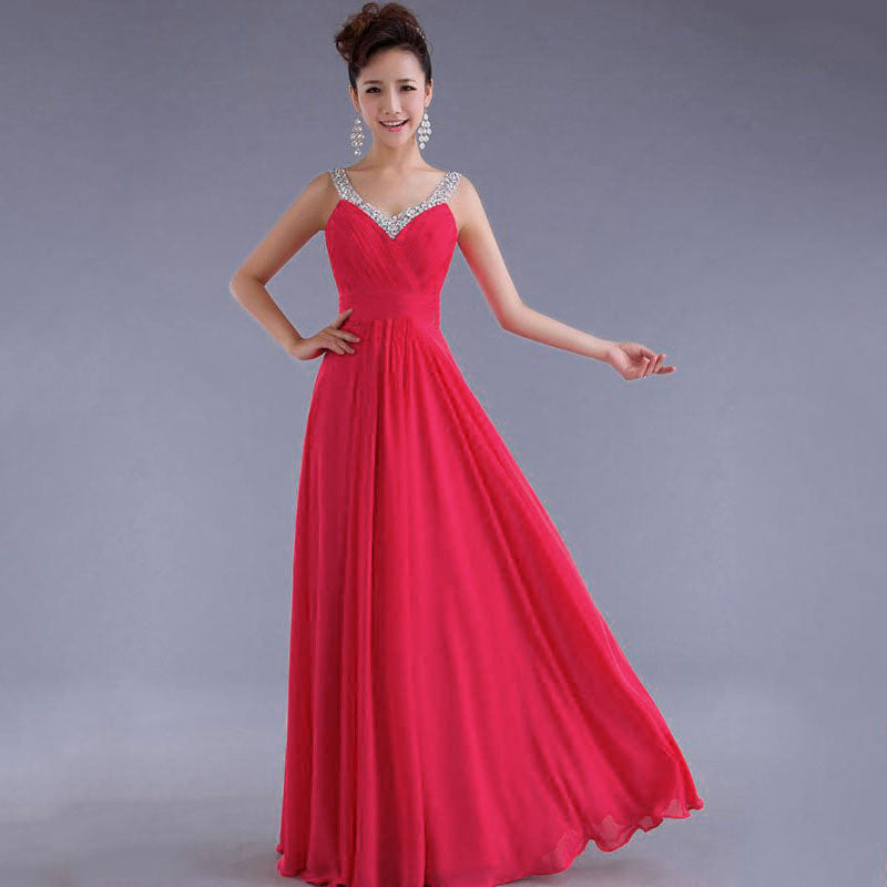 Chiffon Sequins V-neck Sleeveless Long Evening Bridesmaid Dress - Oh Yours Fashion - 1