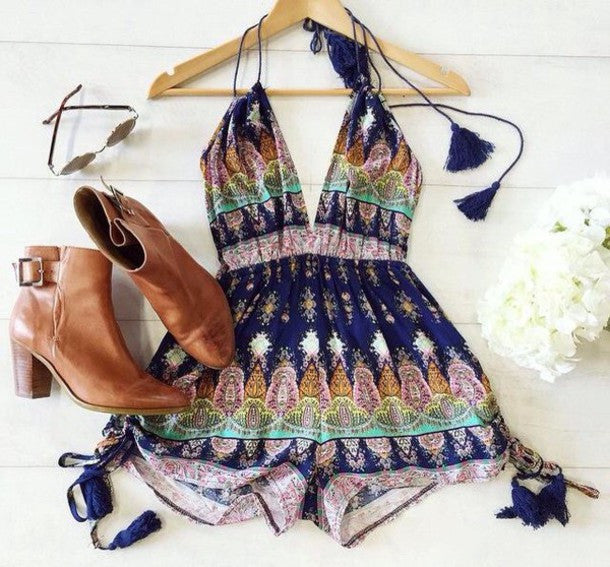 Spaghetti Strap Deep V-neck Backless Print Short Jumpsuit - Oh Yours Fashion - 4