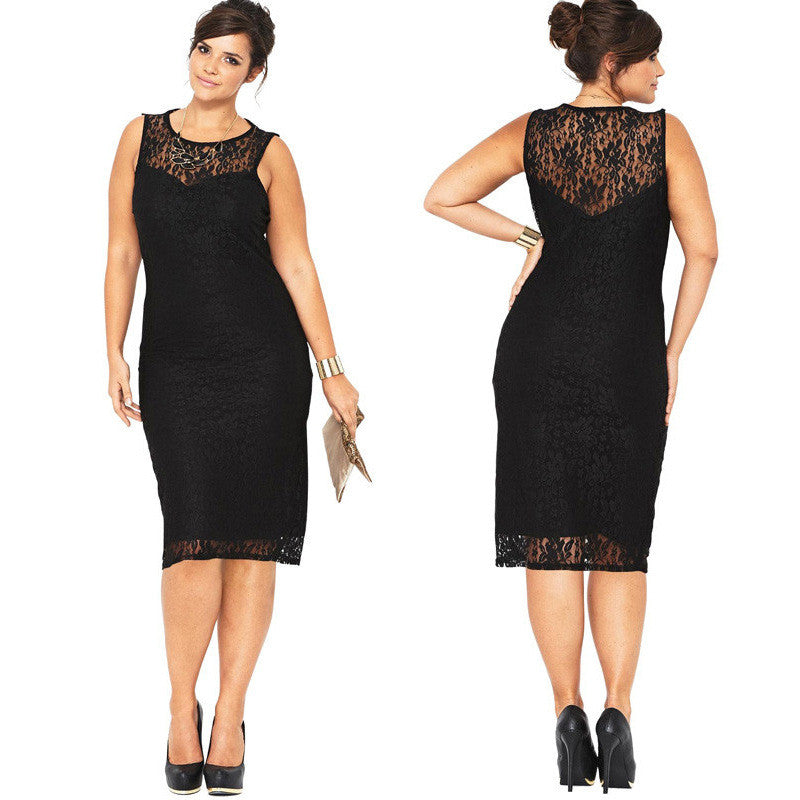 Plus Size Black Lace Sleeveless Scoop Knee-Length Dress - Oh Yours Fashion - 1