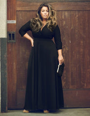 Plus Size V-neck Empire 3/4 Sleeves Party Long Dress - Oh Yours Fashion - 7