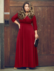 Plus Size V-neck Empire 3/4 Sleeves Party Long Dress - Oh Yours Fashion - 2