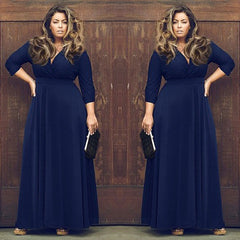 Plus Size V-neck Empire 3/4 Sleeves Party Long Dress - Oh Yours Fashion - 1