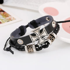 Alloy Beaded Cross Leather Bracelet - Oh Yours Fashion - 2