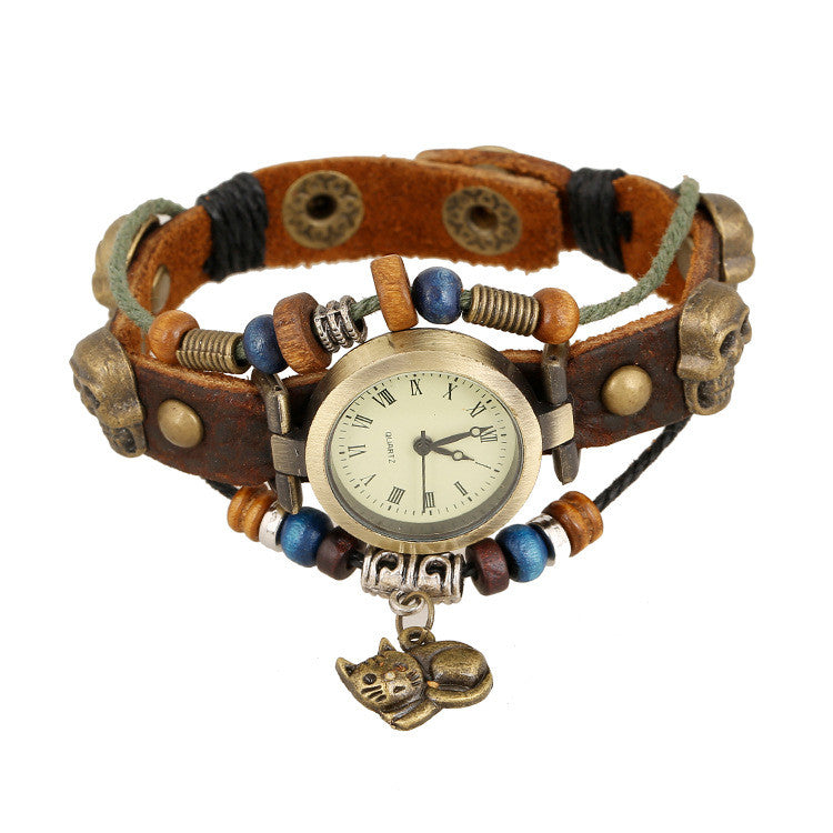 Punk Beaded Skull Cat Watch - Oh Yours Fashion - 2
