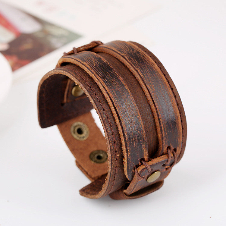 Fashion Wide Strap Leather Bracelet - Oh Yours Fashion - 2