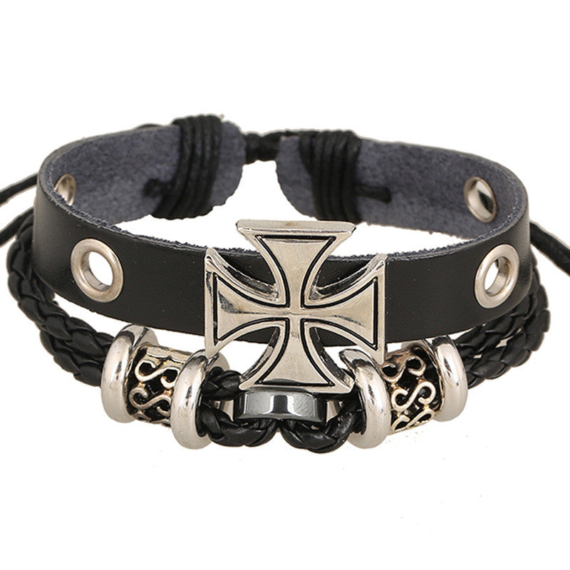 Alloy Beaded Cross Leather Bracelet - Oh Yours Fashion - 1
