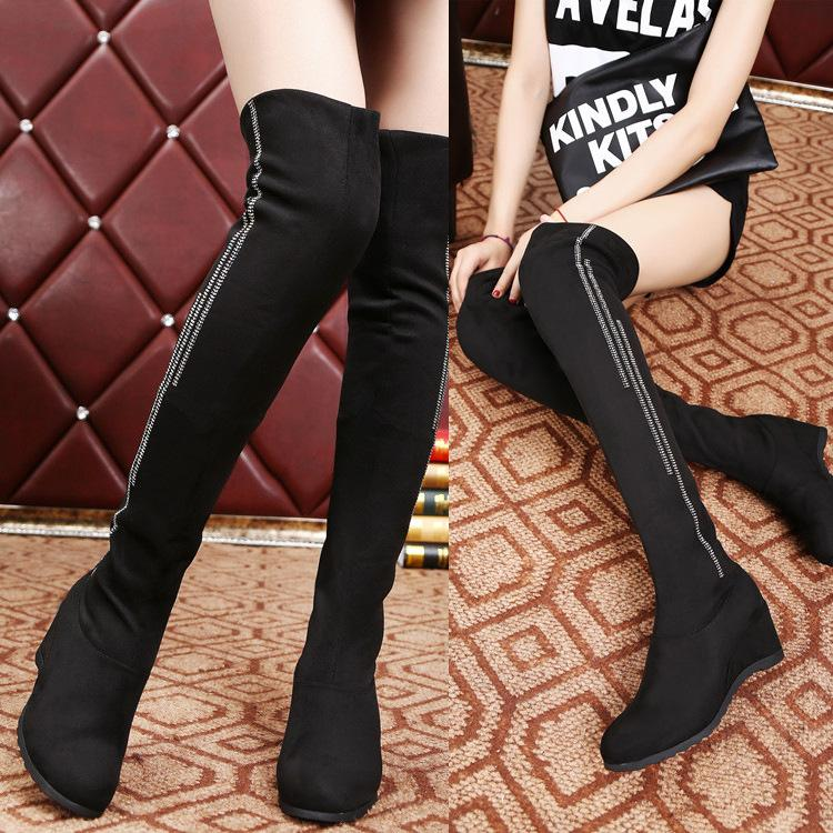 a2cd8a996c2 Round Toe Over-knee Long Wedge Boots – Oh Yours Fashion