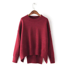 Batwing Pure Color Pullover Loose Knit Sweater - Oh Yours Fashion - 2