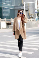 Irregular Lapel Pocket Loose Knitted Cardigan - O Yours Fashion - 3
