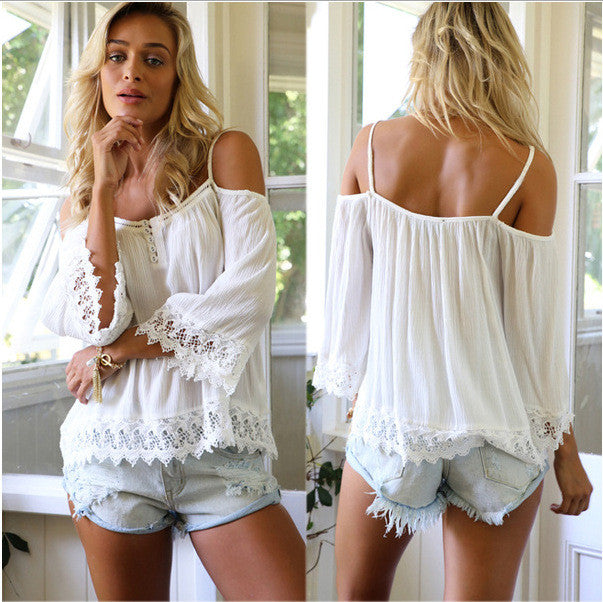 Off-shoulder Pure Color Lace Patchwork Casual Spaghetti Strap Blouse - Oh Yours Fashion - 4