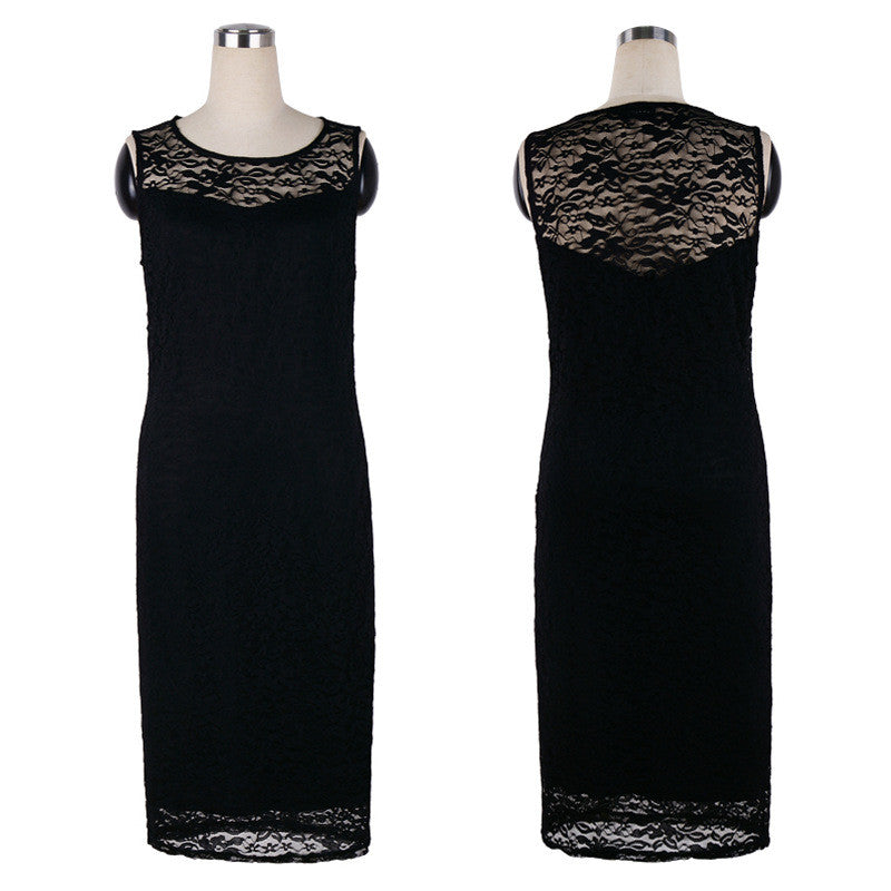Plus Size Black Lace Sleeveless Scoop Knee-Length Dress - Oh Yours Fashion - 4