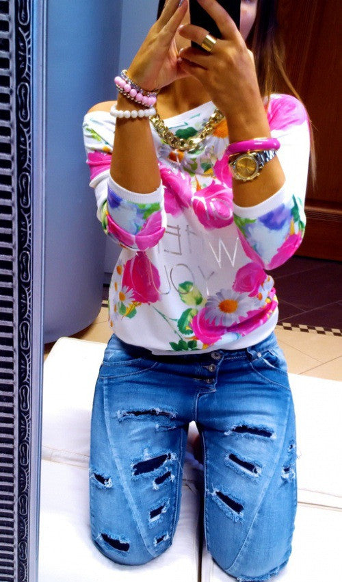 Scoop Flower Print 3/4 Sleeves Casual Sweatshirt - Oh Yours Fashion - 3