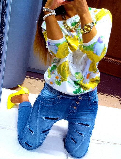 Scoop Flower Print 3/4 Sleeves Casual Sweatshirt - Oh Yours Fashion - 6