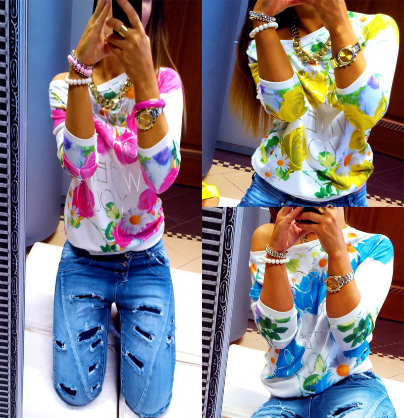 Scoop Flower Print 3/4 Sleeves Casual Sweatshirt - Oh Yours Fashion - 1