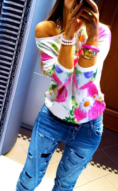 Scoop Flower Print 3/4 Sleeves Casual Sweatshirt - Oh Yours Fashion - 2