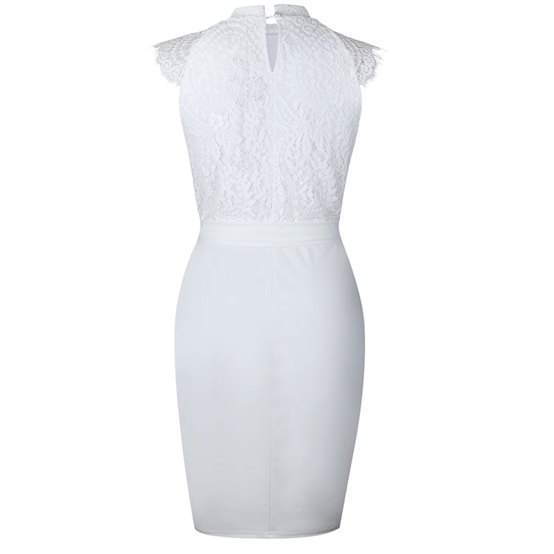 Lace Patchwork Straps Women Knee-length White Dress