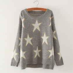 Print Cute Loose Scoop Knit Pullover Sweater - Oh Yours Fashion - 1