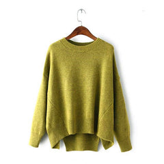 Batwing Pure Color Pullover Loose Knit Sweater - Oh Yours Fashion - 4