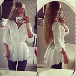 Turn-down Collar Long Sleeves Bowknot Pure Color Blouse - Meet Yours Fashion - 4