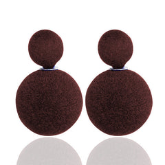 Korea Style Velvet Ball Fashion Earring - Oh Yours Fashion - 3