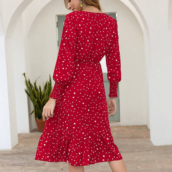 Polka Dots Empire Waist A Line Midi Dress