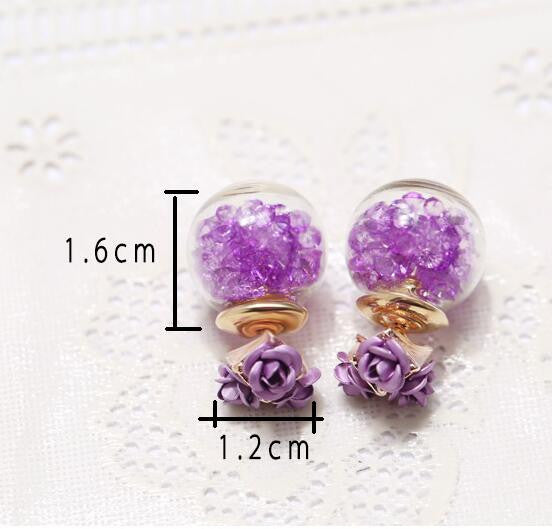 Rose Glass Crystal Ball Earring - Oh Yours Fashion - 10