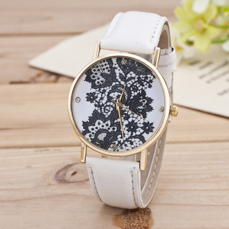 Black Floral Print Watch - Oh Yours Fashion - 1